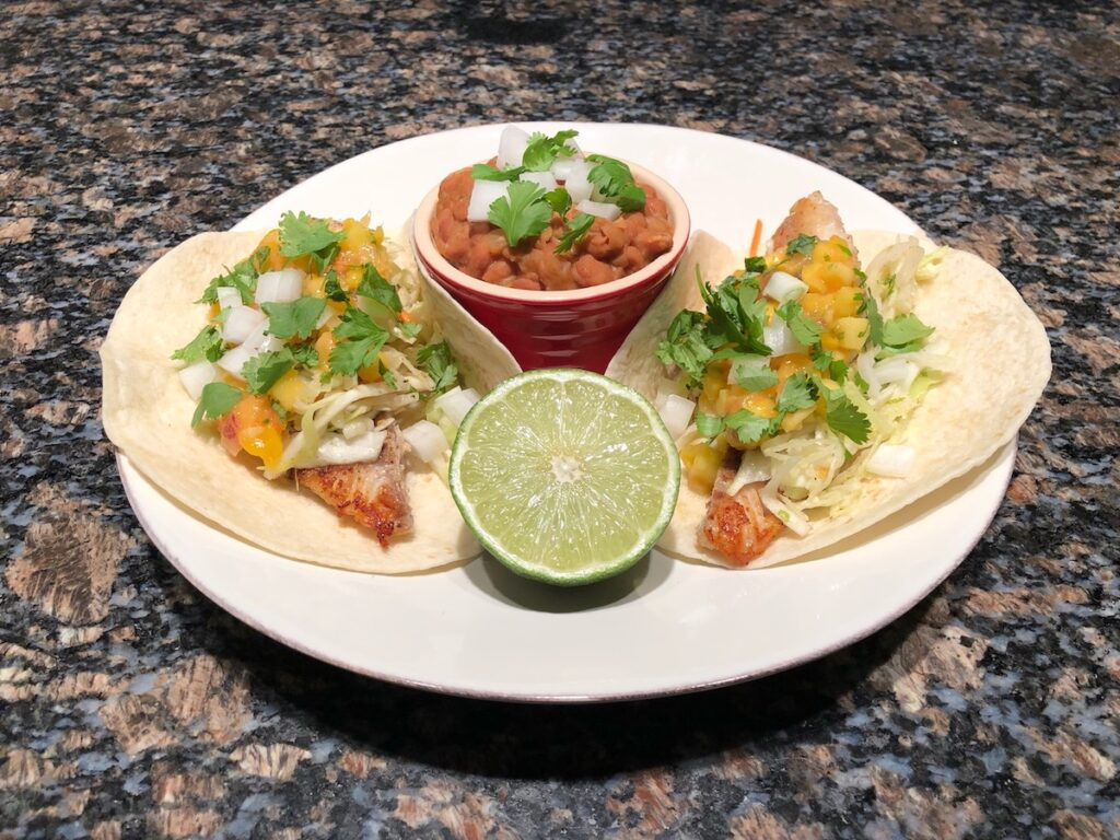 Walleye Tacos with Cabbage Slaw and Beer Beans